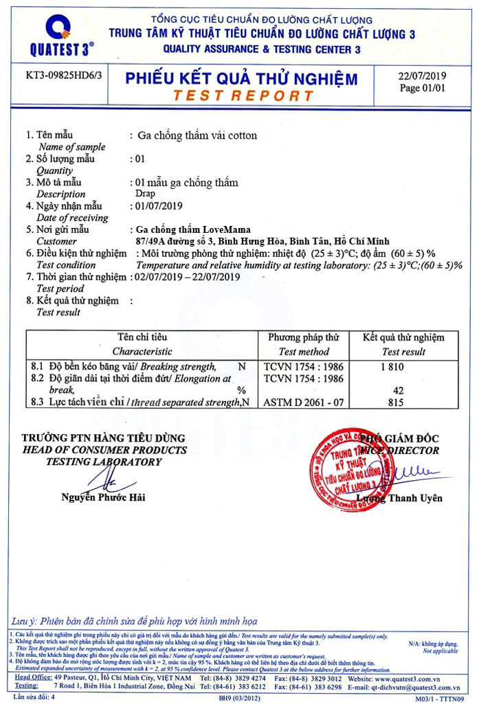 Giấy chứng nhận chuẩn Quatest 3 ga chống thấm