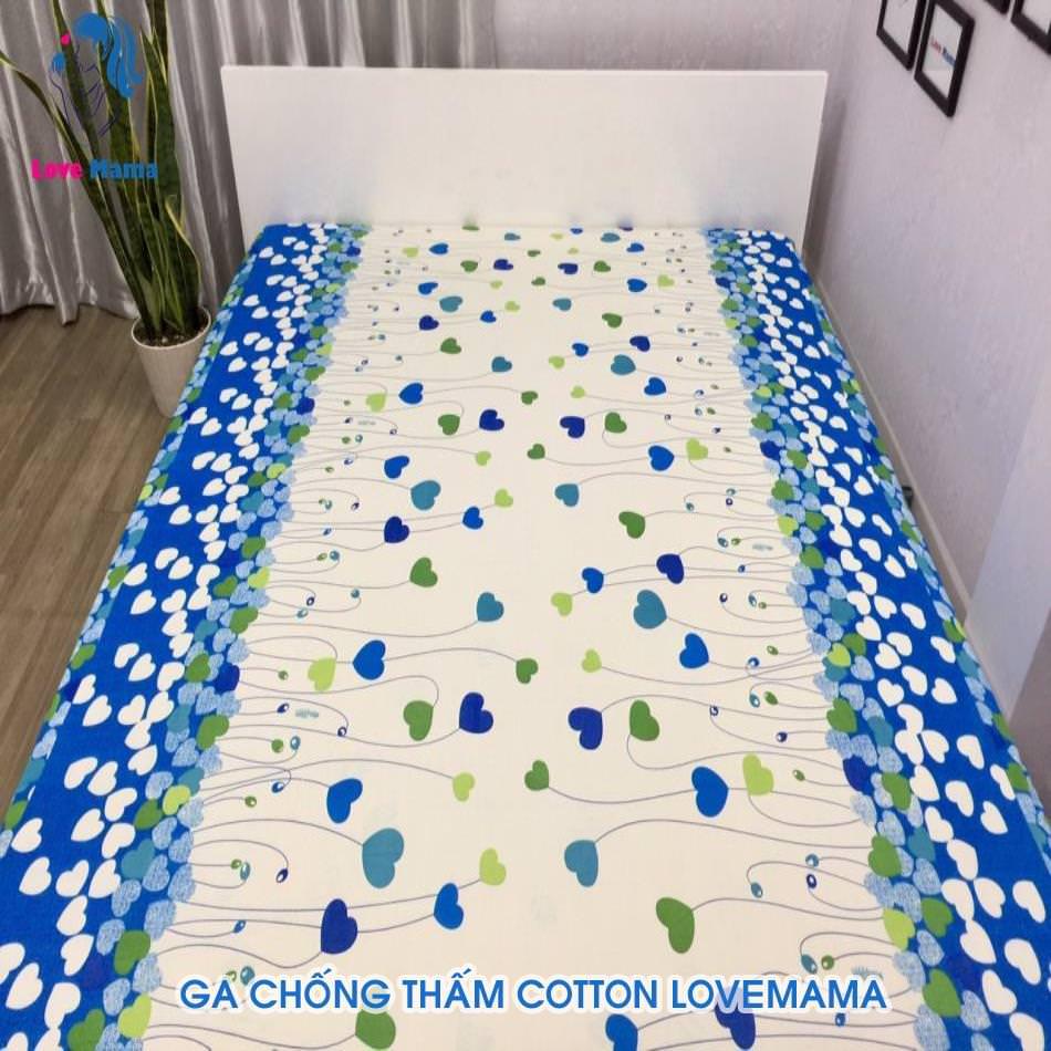 Drap nệm giường chống thấm cotton 1m2 1m4 1m6m 1m8 2m2 hình trái tim