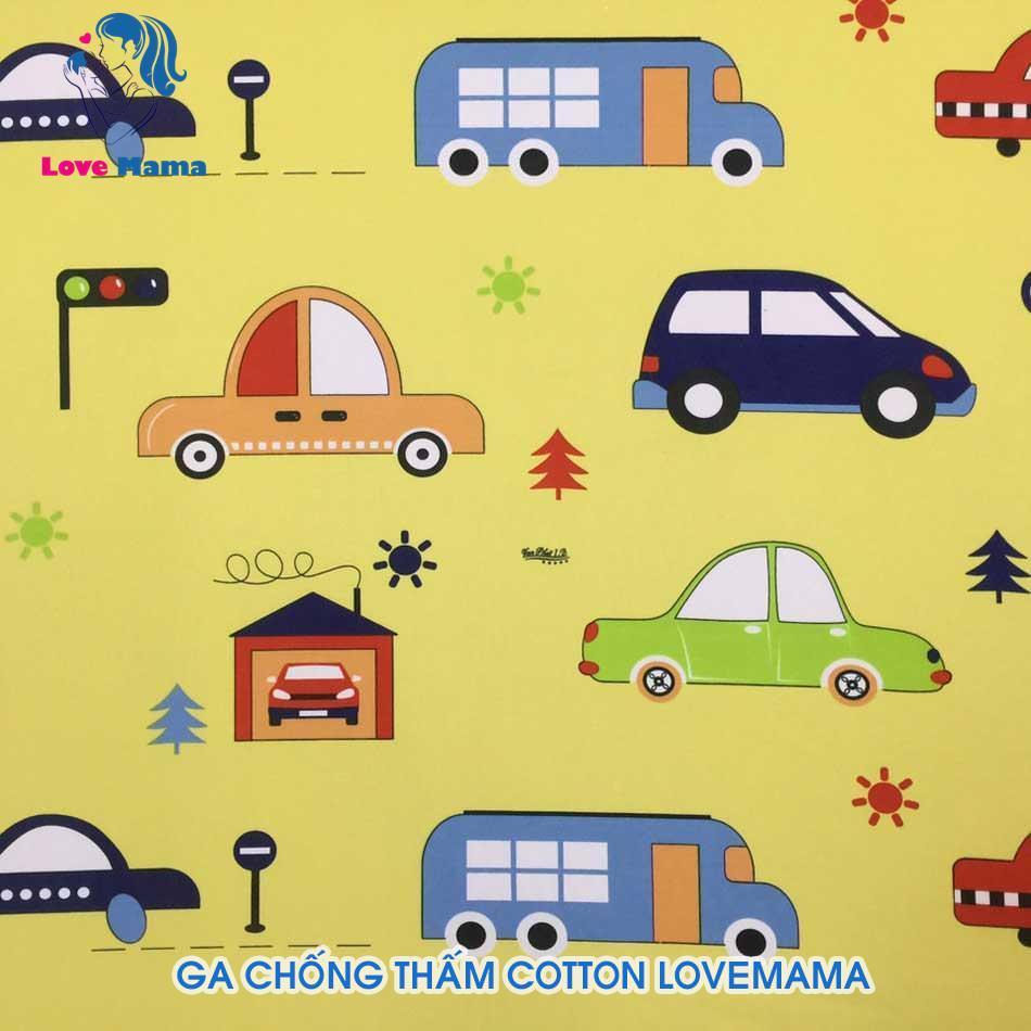 Drap chống thấm bọc nệm cho bé bảo vệ sức khỏe hình ô tô xe hơi