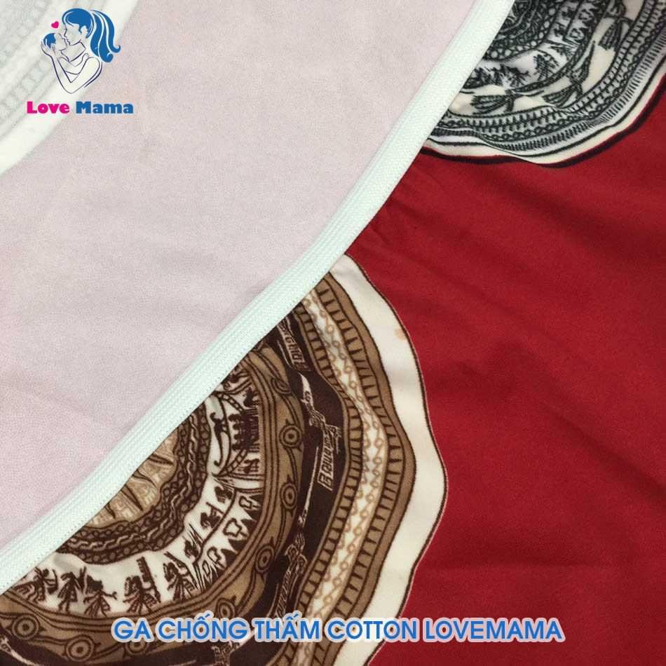 Ga bọc đệm chống thấm nước vải cotton hình trống đồng vàng nền đỏ