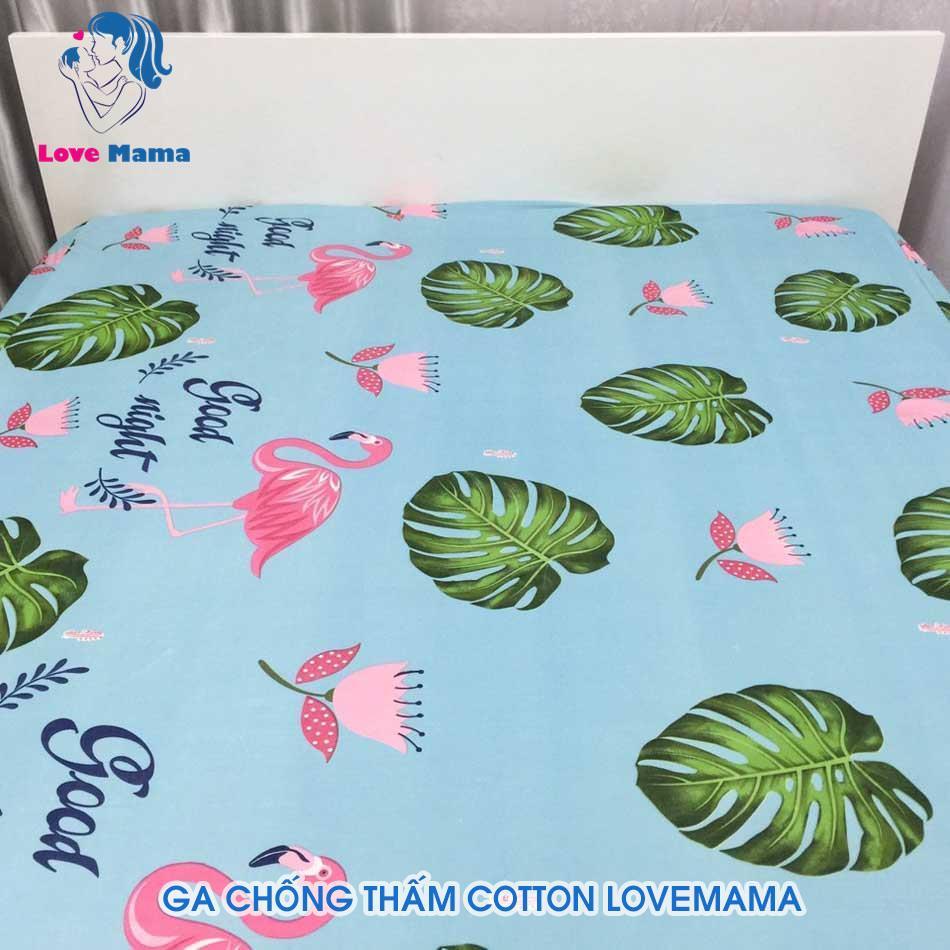 Ga chống thấm cao cấp họa tiết hạc xanh vải cotton