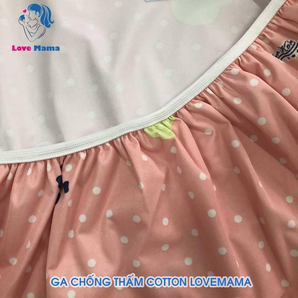 Ga chống thấm cho bé gái họa tiết hươu bi cao cổ màu hồng i love moon
