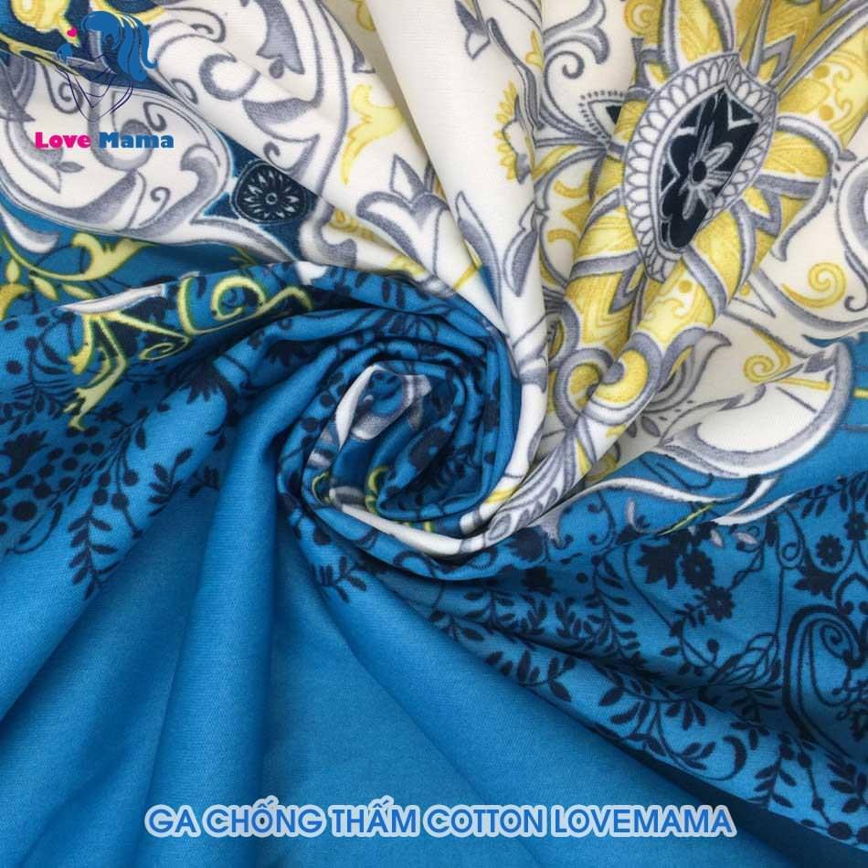 Ga chống thấm họa tiết hoa vẽ cổ điển xanh biển màu sáng