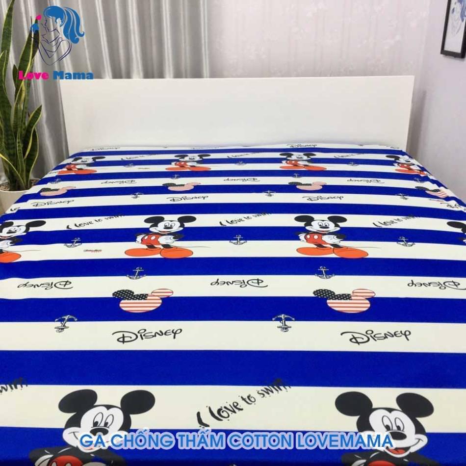 Ga chống thấm chuột Mickey xanh ô trắng vải cotton ga 1m6 cao cấp