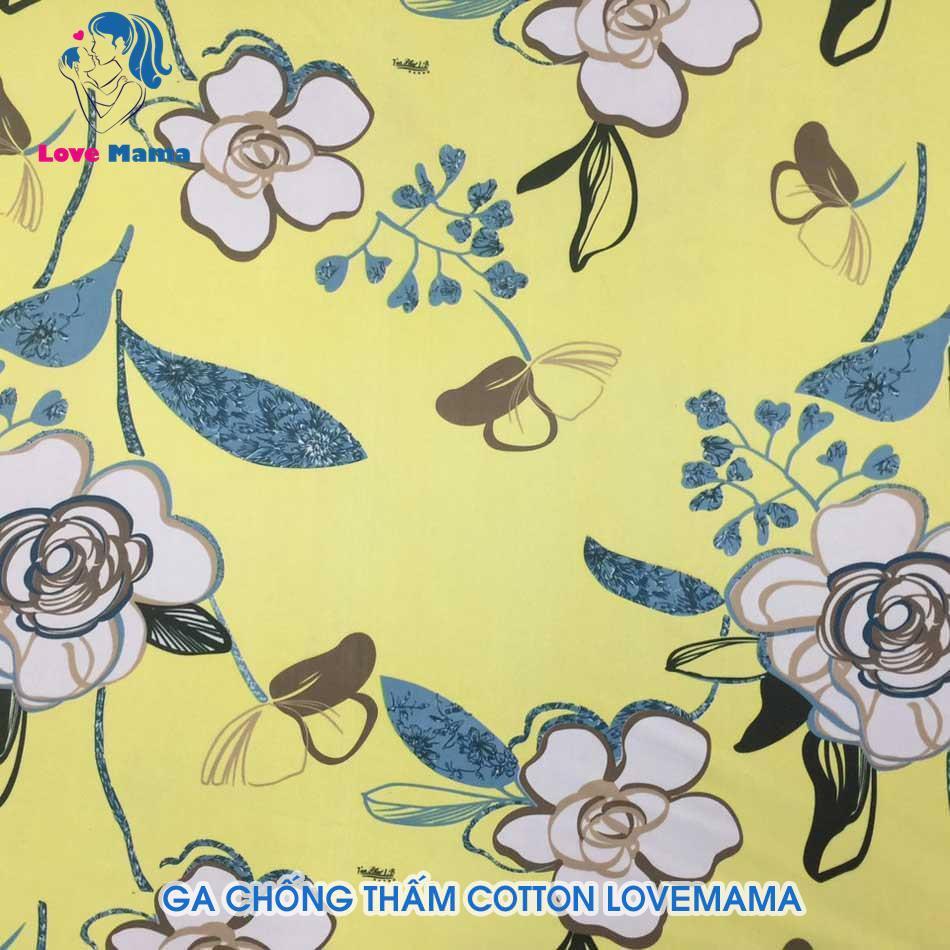 Ga chống thấm cotton họa tiết hoa nền vàng cao cấp