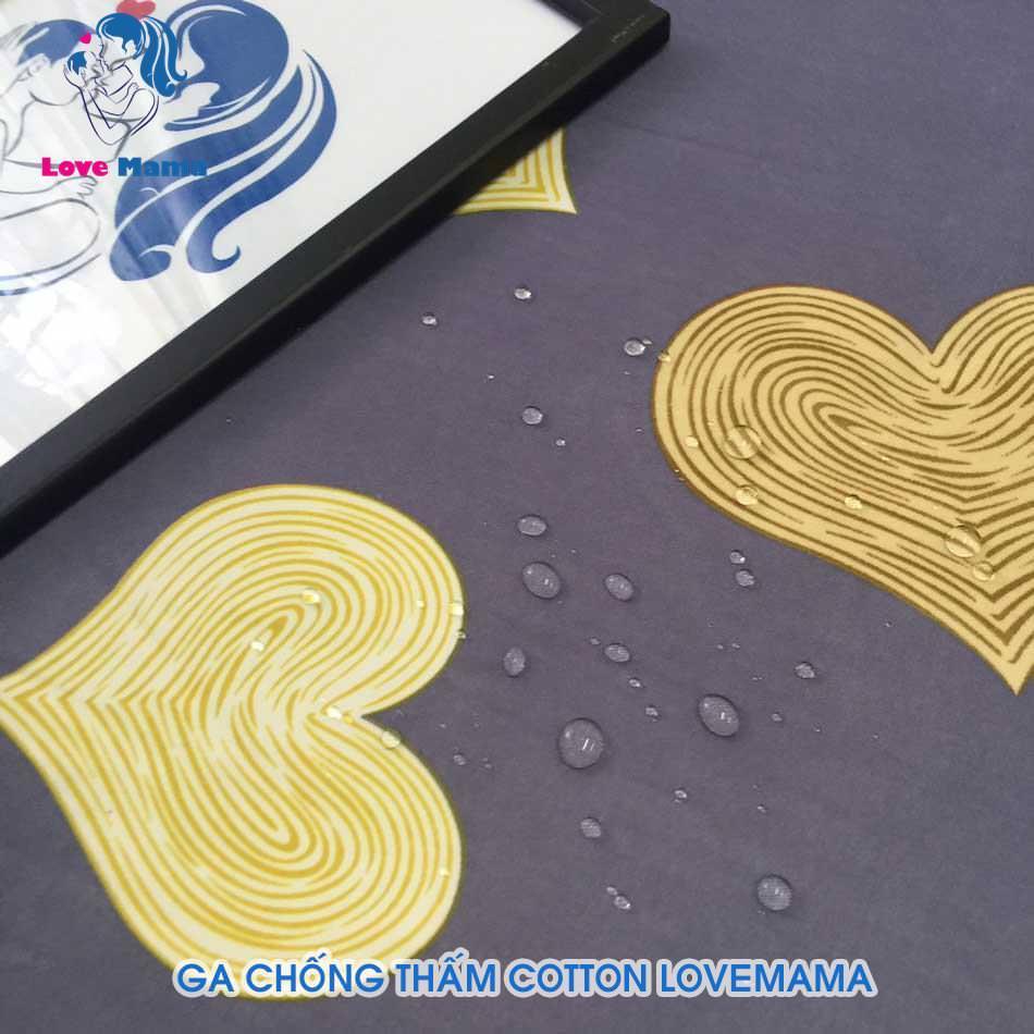 Ga chống thấm cotton họa tiết trái tim I Love You