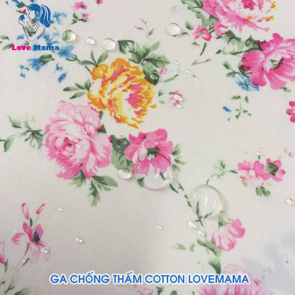 Ga chống thấm cotton nano mẫu họa tiết bông hoa hồng
