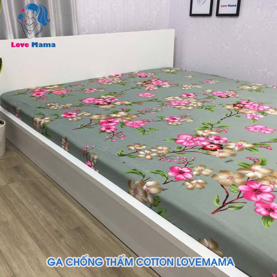 Ga chống thấm hình hoa đào vải nền xám vải cotton
