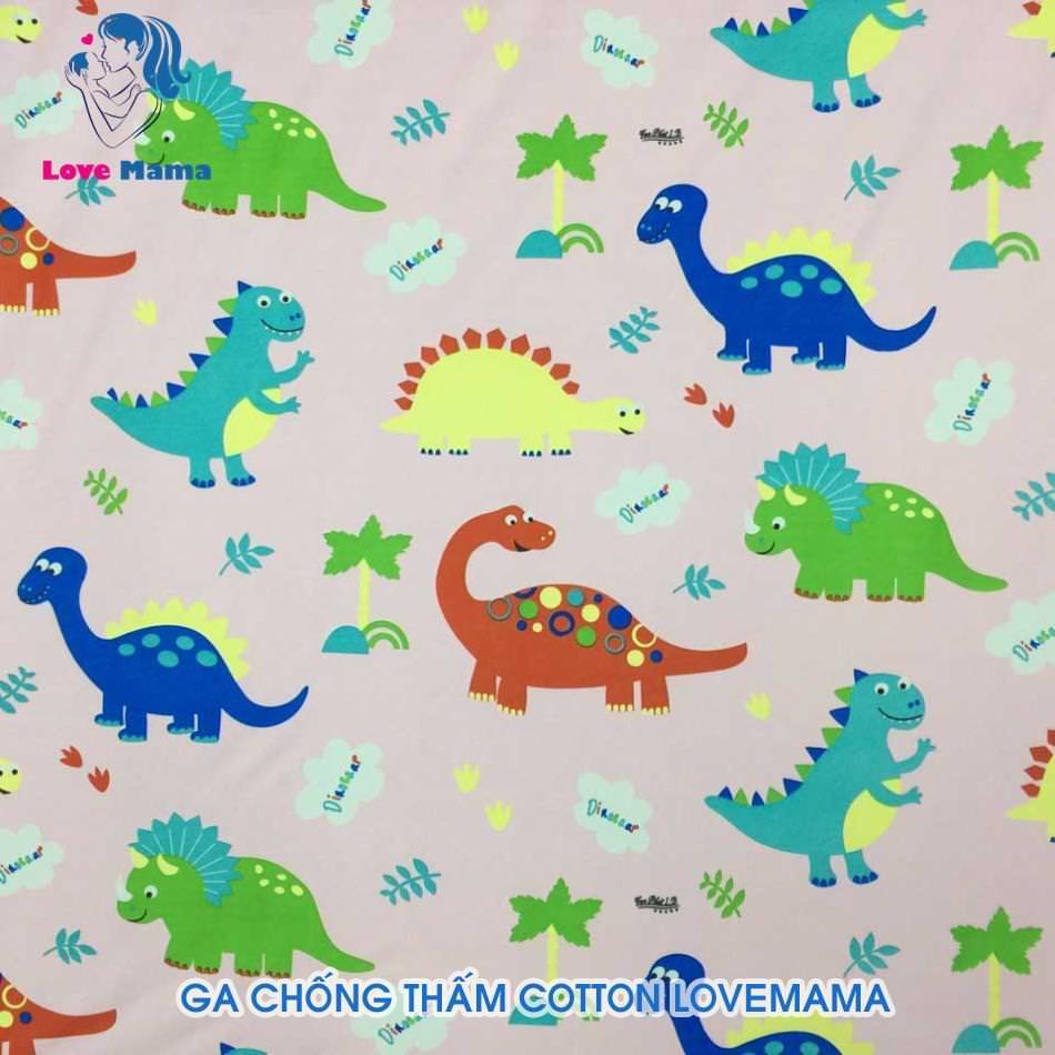 Ga chống thấm họa tiết khủng long và cây cối chữ Dinosaar hồng