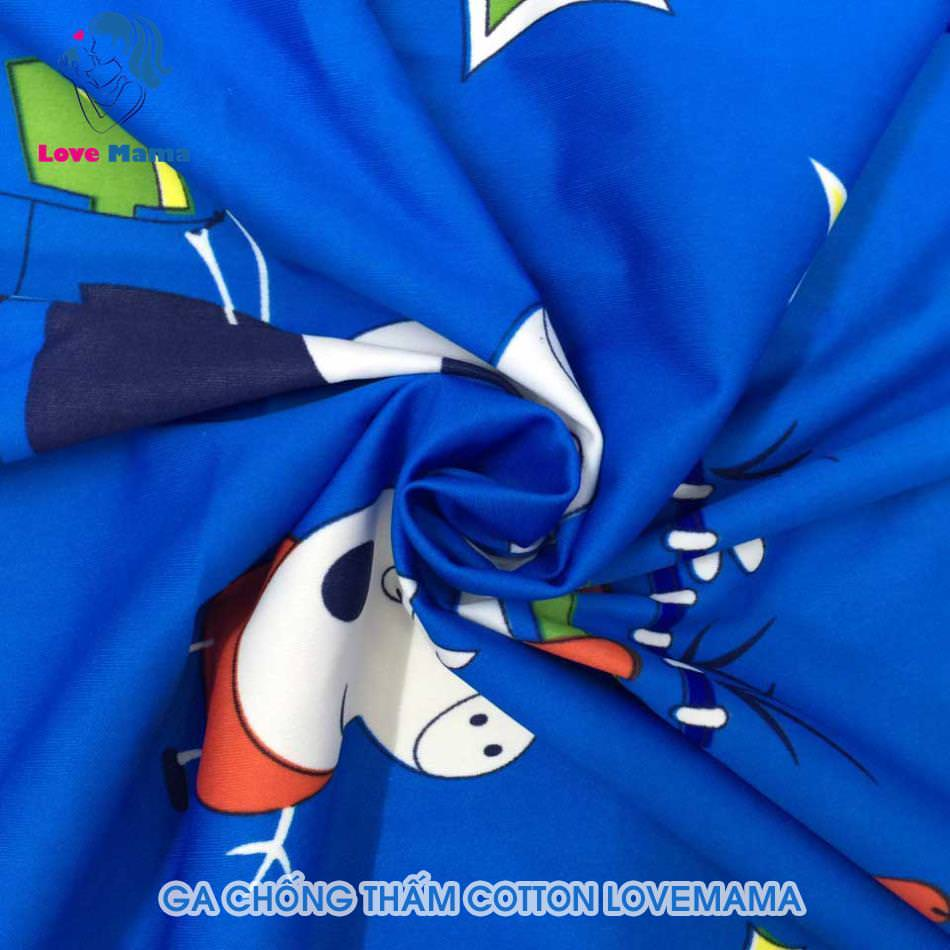 Ga chống thấm màu xanh họa tiết Heo piggy vải cotton