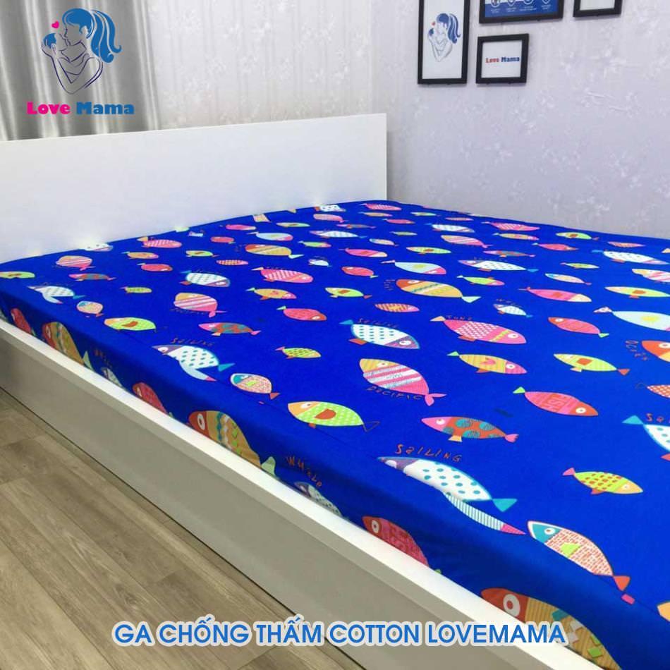 Ga chống thấm màu xanh vân hình cá vải cotton ga 1m6 cao cấp