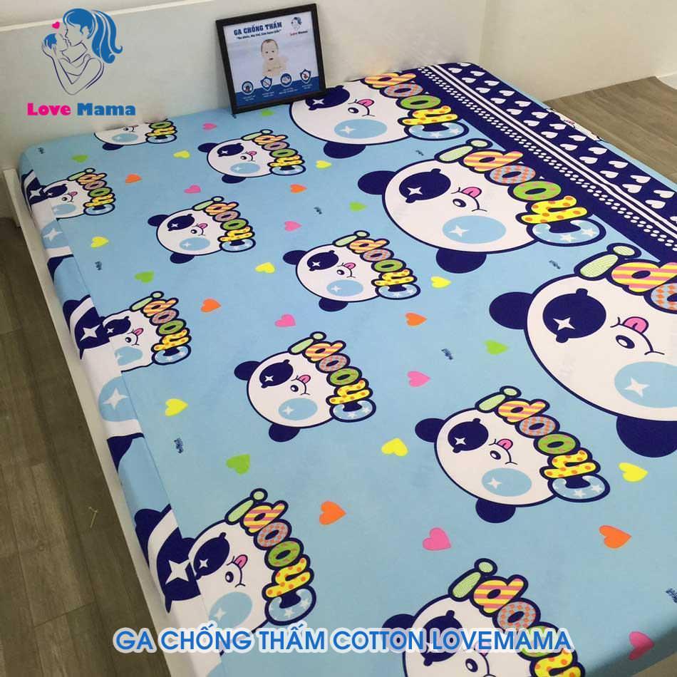 Ga chống thấm cao cấp màu xanh hình gấu pooh vải cotton