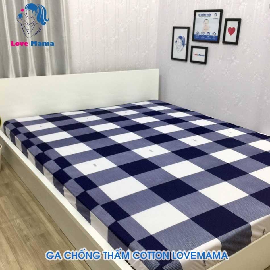 Ga giường chống thấm nước phủ nano kháng khuẩn họa tiết ô vuông trắng đen