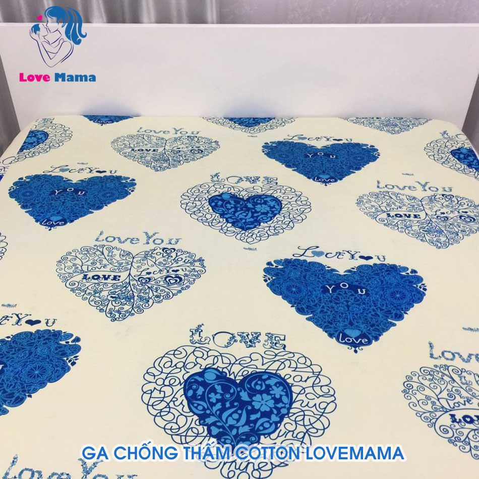 Ra nệm chống thấm nước vải cotton phủ nano họa tiết trái tim to